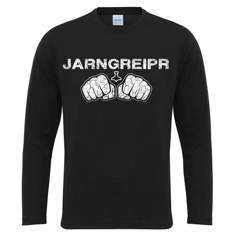 Men's Gym Longsleeves - Long-sleeve, Jarngreipr, Black - Grimfrost.com