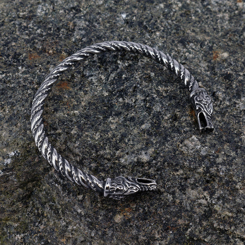 Viking Jewelry - Lindworm Armring, Stainless Steel - Grimfrost.com