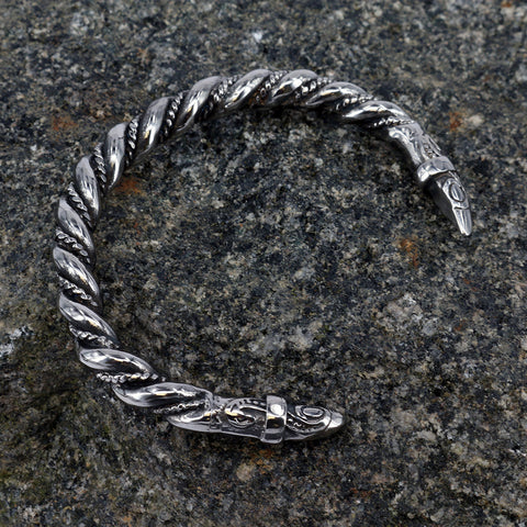 Viking Jewelry - Raven Armring, Stainless Steel - Grimfrost.com