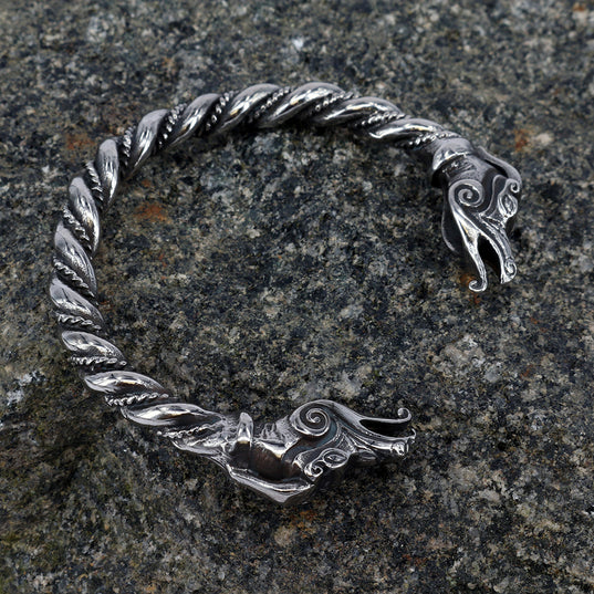 Viking Jewelry - Dragon Armring, Stainless Steel - Grimfrost.com