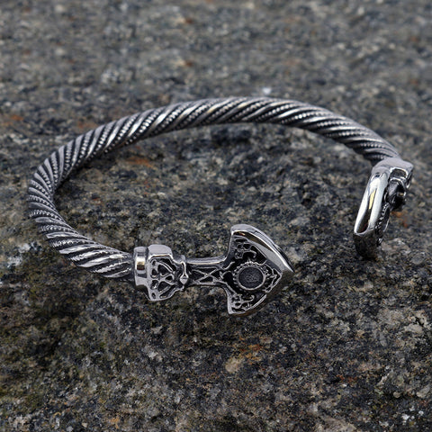 Viking Jewelry - Mjolnir Armring, Stainless Steel - Grimfrost.com