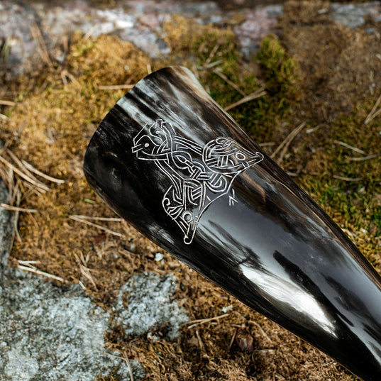 Horns - Thor's Hammer Drinking Horn, Large - Grimfrost.com