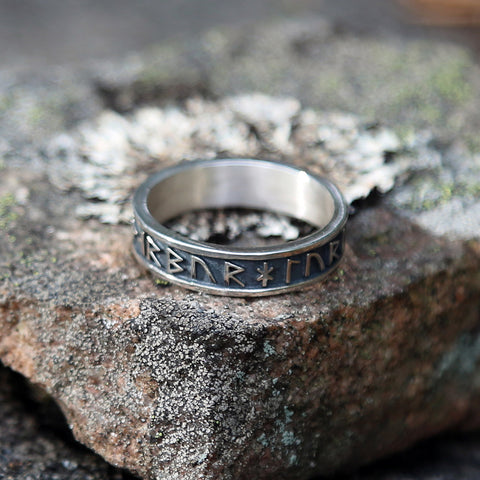 Thor Rune Band Ring, Silver