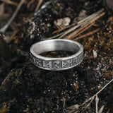 Rings - Thor Rune Band Ring, Silver - Grimfrost.com