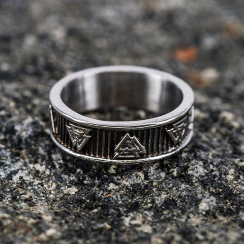 Valknut Band Ring, Stainless Steel