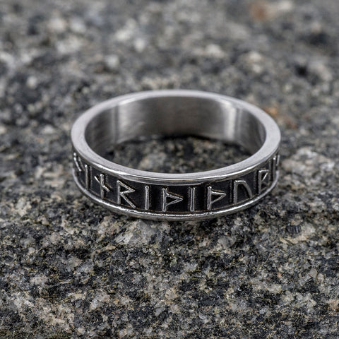 Rings - Thor Rune Band Ring, Stainless Steel - Grimfrost.com