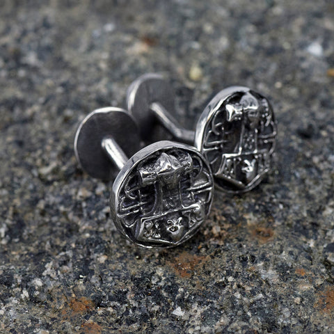 Mjolnir Disc Cufflinks, Stainless Steel