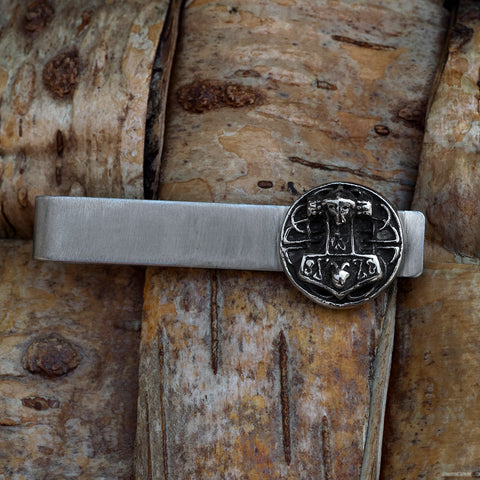 Tie Bars - Mjolnir Disc Tie Bar, Stainless Steel - Grimfrost.com