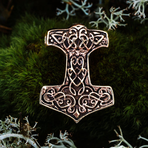 Thor's Hammers - Knotwork Thor's Hammer, Bronze - Grimfrost.com