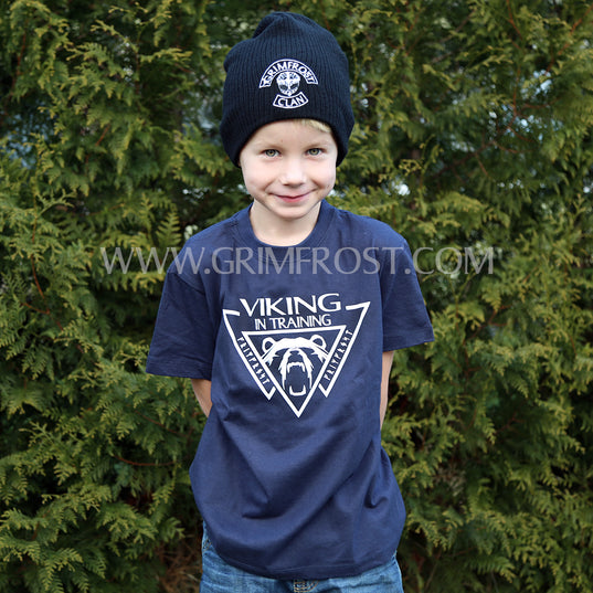 Kid's Clothing - Kids T-shirt, Viking, Navy Blue - Grimfrost.com