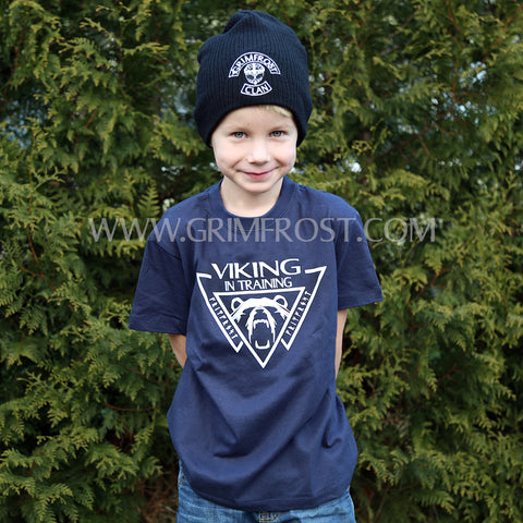 T-shirts - Kids T-shirt, Viking, Navy Blue - Grimfrost.com
