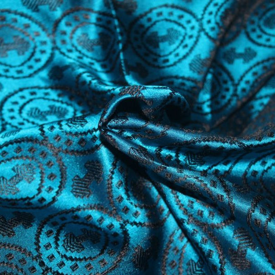 Fabrics - Double Axe Silk, Black and Blue - Grimfrost.com