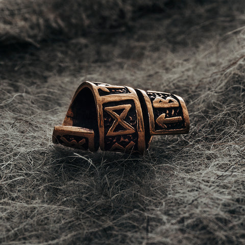 Beard Rings - Large Beard Ring, Bronze with Runes - Grimfrost.com