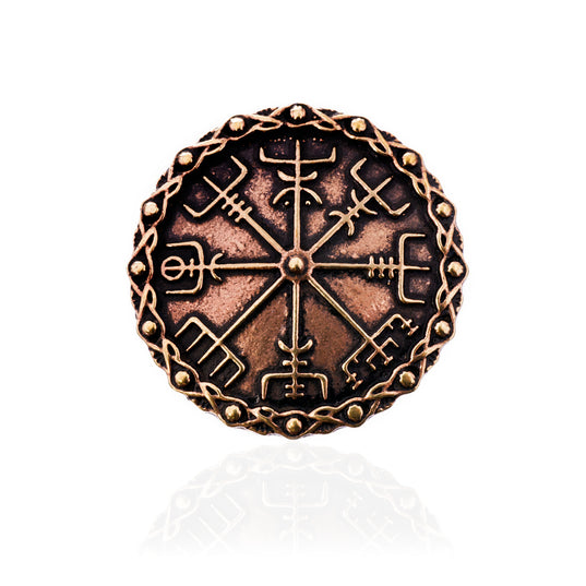 Brooches - Vegvisir Brooch, Bronze - Grimfrost.com