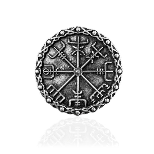 Brooches - Vegvisir Brooch, Silver - Grimfrost.com