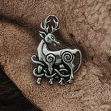 Brooches - Cernunnos Stag Brooch, Silver - Grimfrost.com