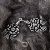 Clasps - Raven Clasp, Large, Silvered Bronze - Grimfrost.com