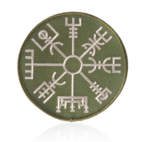 Vegvisir Patch, Embroidered, Army Green