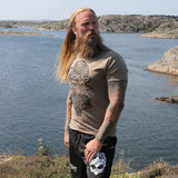 T-shirts - Premium Tee, Thor Mask, Army Tan - Grimfrost.com