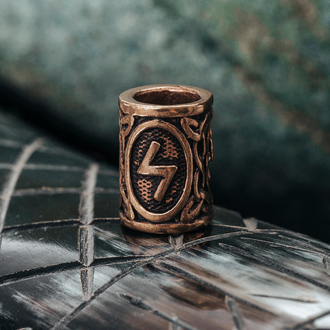 Beard Rings - Sowilo Beard Ring, Bronze - Grimfrost.com