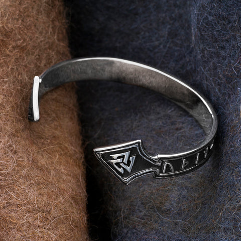 Arm Rings - Odin Cuff, Stainless Steel - Grimfrost.com