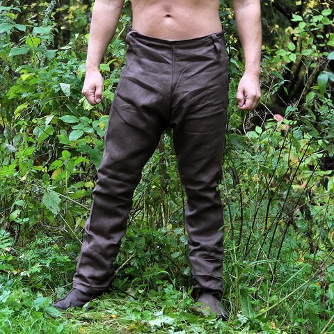 Trousers - Viking Linen Trousers, Brown - Grimfrost.com