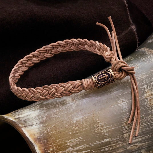 Arm Rings - Leather Bracelet, Bronze Tyr - Grimfrost.com