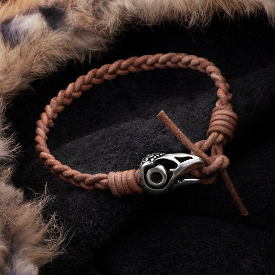 Arm Rings - Leather Bracelet, Silver Raven - Grimfrost.com