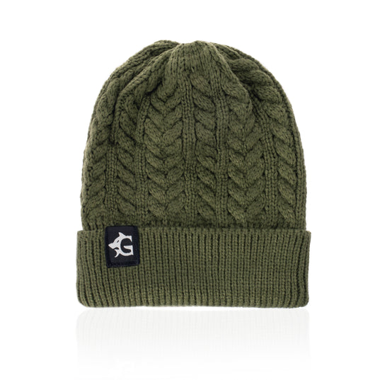 Grimfrost Cable Knit Beanie, Green