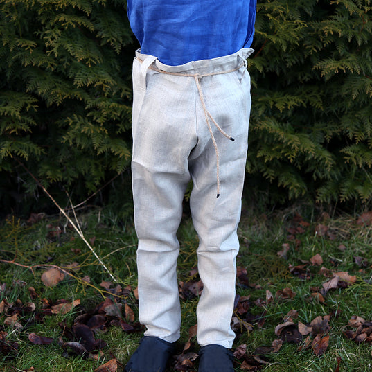 Kids Viking Wear - Kids Linen Trousers, Natural - Grimfrost.com