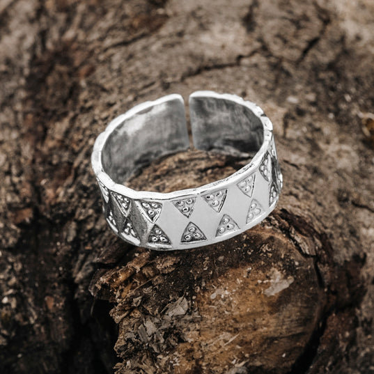 Rings - Stamped Viking Ring, Silver - Grimfrost.com