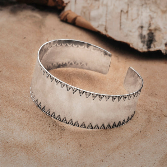 Arm Rings - Stamped Viking Bangle, Silver - Grimfrost.com