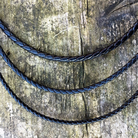 Neck Chains - Braided Leather Cord, Black - Grimfrost.com