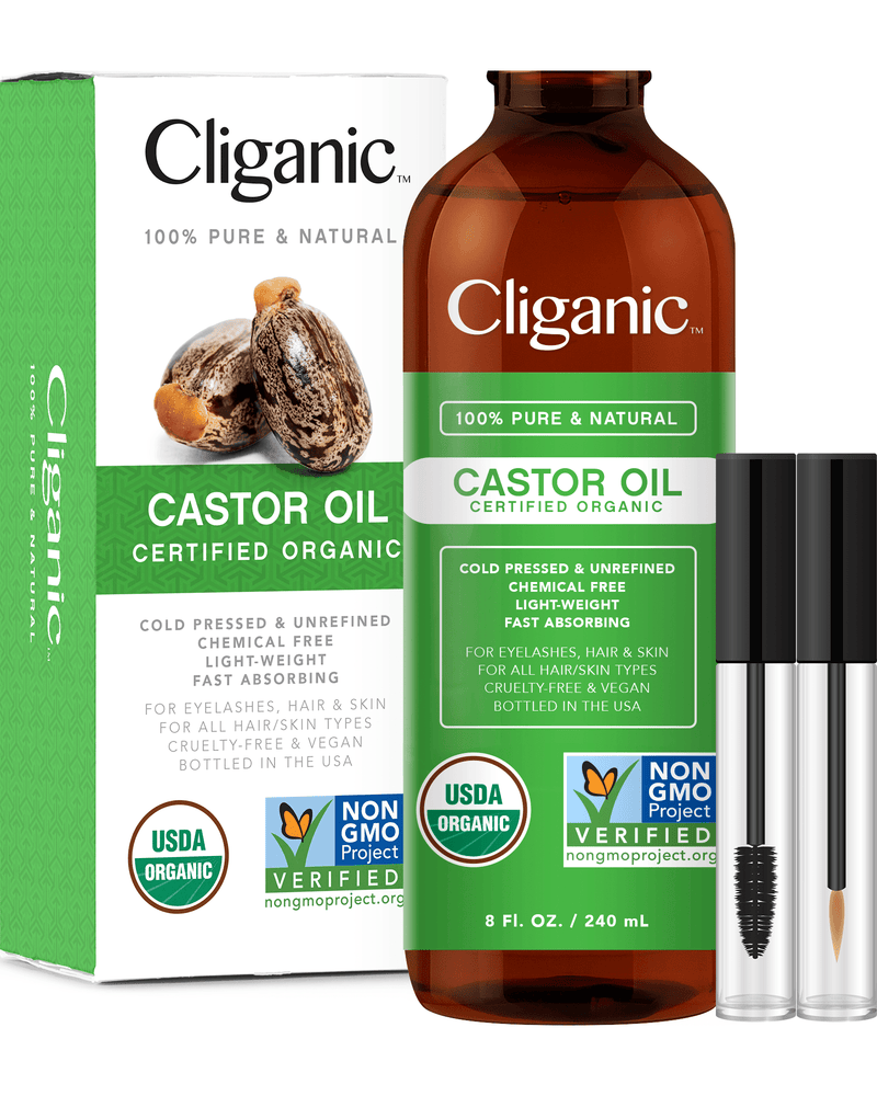 100% Pure Organic Castor Oil with Eyelash Kit