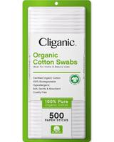 Cliganic Organic Cotton Swabs, 500 Count