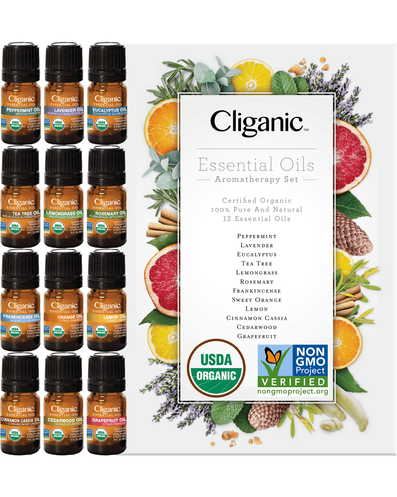 Cliganic Organic Aromatherapy Set (Top 12 Essential Oils) 5ml