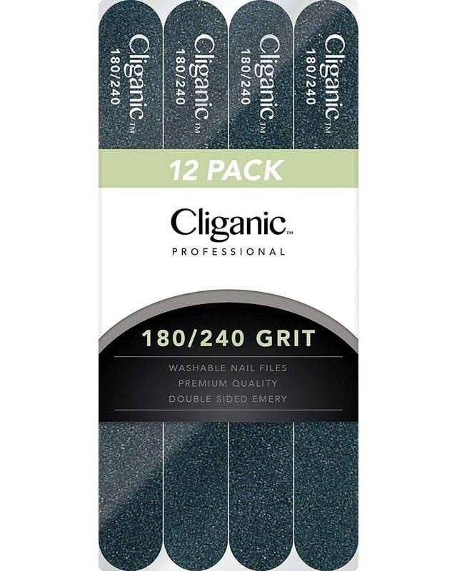 Cliganic Professional Nail Files, 12 Pack 180/240 Grit