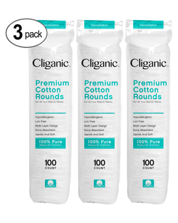 Cliganic Premium Cotton Rounds (300 Count)