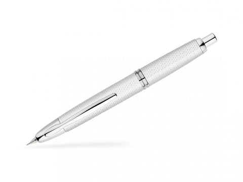 Pilot Capless Vanishing Point Retractable Fountain Pen Carbonesque White/Chrome
