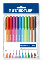 Staedtler Rainbow Ballpoint Pen 432 Pack of 10 with Triangular Barrel