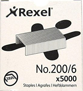 Rexel County Staples No.200/6 5000 Pack for Triumph Tacker 06565 New Packaging