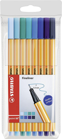 "Stabilo Point 88 Fineliner Pens ""Shades of Blue"" 8 Pack"