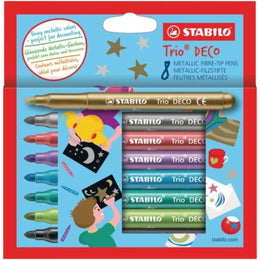 STABILO Trio Deco Metallic Colouring Pens Pack of 8