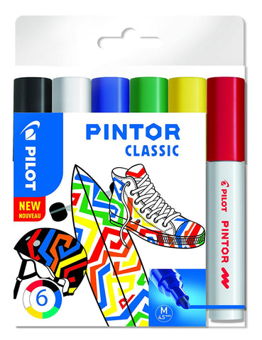 Pilot Pintor CLASSIC Paint Markers 4.5mm Bullet Tip Wallet of 6