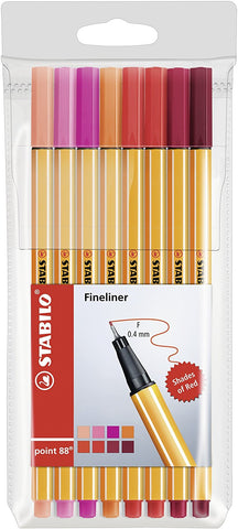 "Stabilo Point 88 Fineliner Pens ""Shades of Red"" 8 Pack"
