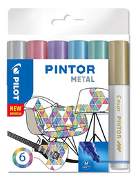Pilot Pintor METAL Paint Markers 4.5mm Bullet Tip Wallet of 6