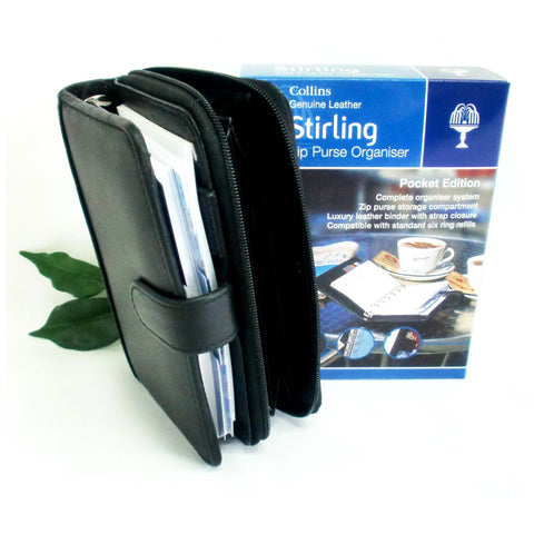 Collins Stirling Organiser Black Leather Pocket Size Diary KT3499 + Purse