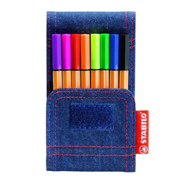 Stabilo Point 88 Mini Fineliner Pens 8 Pack in Assorted Colours in Denim Pocket Wallet