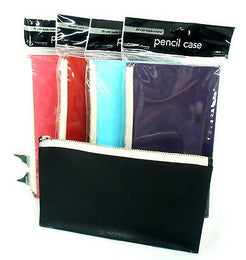 Grandluxe Pencil Case in Soft Faux Leather in 5 Colours with Sturdy Zip Fastening