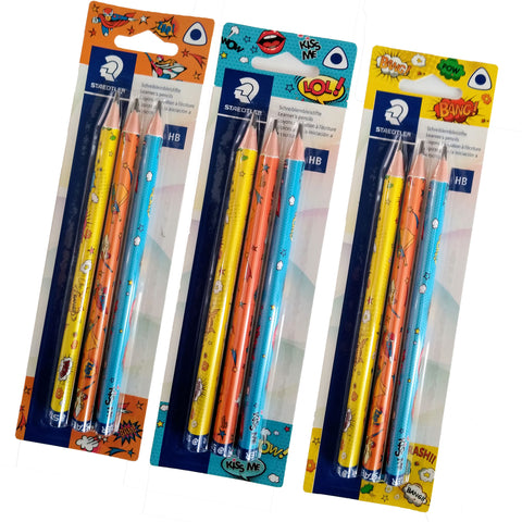 Staedtler HB Triangular Jumbo Learner's Pencils Pack of 3 - Comic Style Range